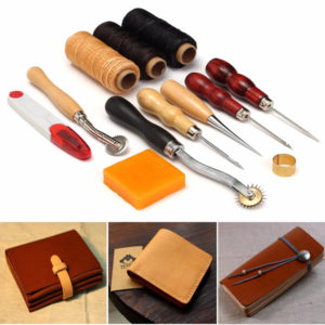 13st Trähandtag Läder Craft Tools Kit Leather Hand Sewing Tool Punch Cutter DIY Set