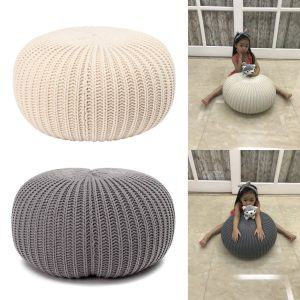 40x30cm Round Chunky Knitted Footstool Ottoman Pouffe Fabric Sofa Foot Stool Seat