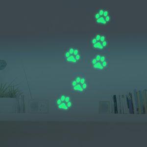 Honana DX-141 6 STK 8,5x8,5 cm fluorescerande glödhund fotavtryck väggklistermärke