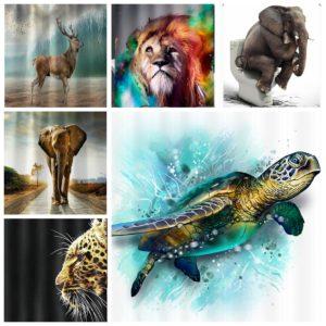 [Sea Turtle Elephant Lion Cheetah Elk] Djur duschdraperi Badrumsmatta set Skidproof Toalettmatta täcka badtopp set