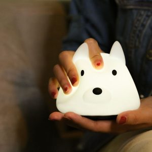 Loskii HC-90 USB Charging Dog Shape Silica Gel Decorative Atmosphere Colorful Squishy Night Light