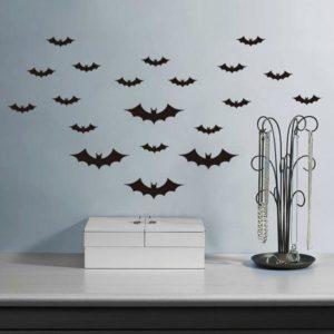 Creative Halloween Haunted House Glass Bat Wall Wall Stickers Bakgrundsdekoration Klistermärke Wall Art