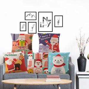 18 '' Jul Bomull Kudde Väska Linne Kuddeöverdrag Heminredning för god jul