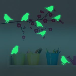8PCS Honana Fluorescent Glow Birds Wall Sticker Home Bedroom Decor
