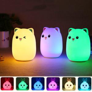 LED Liten nattlampa Sovlampa Babyrum Kaninbjörnsljus Barnlampor Fjärrkontroll