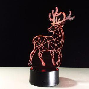 Creative Christmas Elk USB 3D LED-lampor Färgrik Touch Night Light Gift