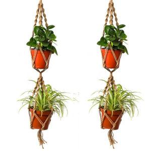 110cm Dubbelskikt Hampa Jute Rope Plant Flower Pot Hanger Holder Macrame Hanging Basket