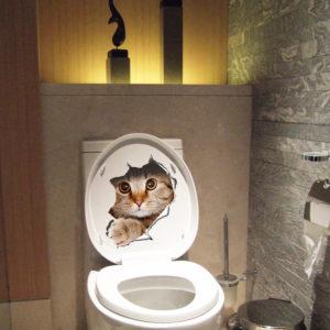 3D Broken Wall Kitten Doggie Wall Sticker Toliet Sticker Bathroom Decoration Decal