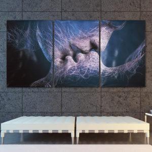 3st Love Kiss Abstrakta Canvastryck Målerier Bilder Heminredning Unframed
