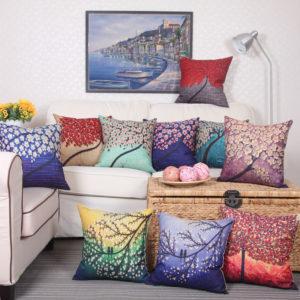 3D Vintage Flower Cotton Linen Pillow Case Waist Cushion Cover Bags Home Car Decor