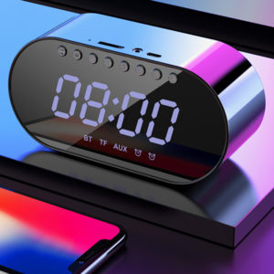 LyRay Wireless Bluetooth 4.2 Portable Speaker Double Alarm Clock FM Radio Bass Double Speaker