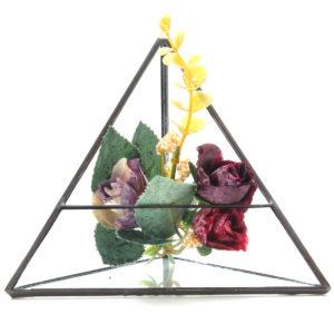 15cm Triangle Greenhouse Glass Terrarium DIY Micro Landscape Succulent Plants Flower Pot