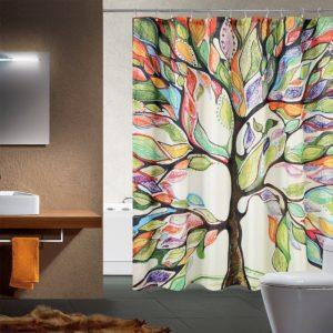 1 PC Badrumsmodat Vattentät Polyester 3D Färgglad trädmönster Mildåldusig duschgardin med 12 st krokar