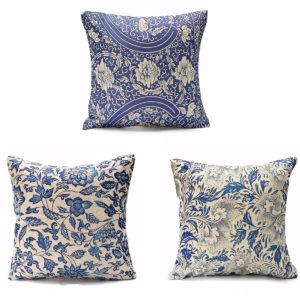 45x45cm orientalisk retro blått blommigt linnekudde kuddeöverdrag heminredning