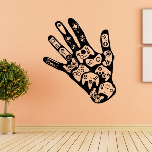 Creative Palm Game Handle Home Decor Wall Sticker Vinyl Removable Muurstickers Decoration Decals