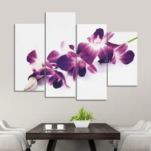 4Pcs Plum Purple Orchids Floral Canvas Pictue Wall Print Split Art Paintings Home Decor
