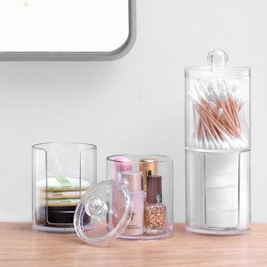Acrylic Cotton Swab Storage Box Makeup Organizer Cosmetic Makeup Clean Cotton Organizer Jewelry Storage Box Holder and Candy Jars