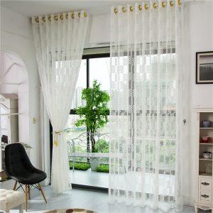 2 rutnätmönster Tulle Sheer Gardiner Sovrum Vardagsrum ihåligt fönster screening