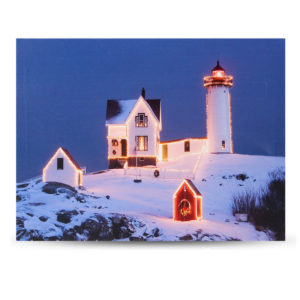 40 x 30cm Operated LED Christmas Snowy Cottage On Hill Xmas Canvas Print Wall Art