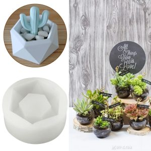 Hexagon Flower Pot Silicone Molds DIY Garden Planter Concrete Vase Soap Mould
