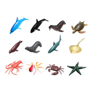 12Pcs/Set Plastic Ocean Animals Figure Sea Creatures Model Toys Dolphin Turtle Starfish Crab Octopus Squid