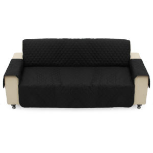 Black Pet Sofa Couch Protective Cover Pads Removable Strap Waterproof Cat Pad 3 Seater Sofa Mat