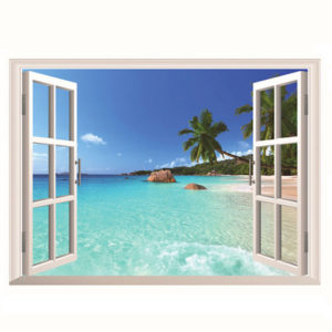 3D Hawaii Holiday Sea View Beach Window View Decal Wall Sticker