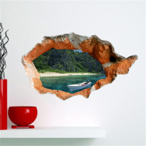 3D Wall Decals Wall Hole Removable Lake View Stickers Home Wall Decor Gift