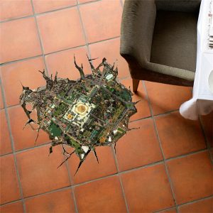 3D-golvhålsdekaler Avtagbara staden förbiser väggklistermärken Hemgolvdekorationer