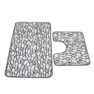 2PCS Shaggy Non Slip Bath Rug Set Pedestal Floor Mat Soft Coral Velet Bathroom