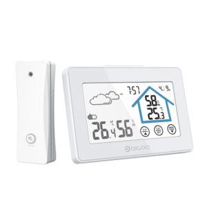 DIGOO DG-TH8380 Pekskärm Väderstation Dagsklocka Låg batteri Larm Termometer Hygrometer Utomhus Inomhus temperatur Luftfuktighetssensor