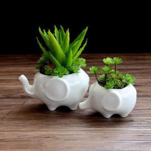 2pcs Elephant Ceramic Resin Succulent Plant Container Garden Flower Pot Planter