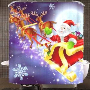150x180cm jultomten vattentät polyester duschdraperi badrum juldekor med 12 krokar