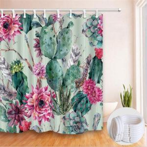 180 * 180 cm Modren Cactus Badrumsgardiner Polyester vattentät duschgardinset