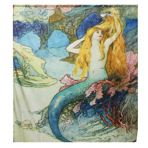 180x165cm Custom Mermaid Art Beautiful Scene Waterproof Fabric Shower Curtain