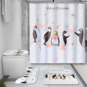 150x180CM Christmas Penguin Waterproof Bathroom Shower Curtain With 12 White C-shaped Plastic Hooks