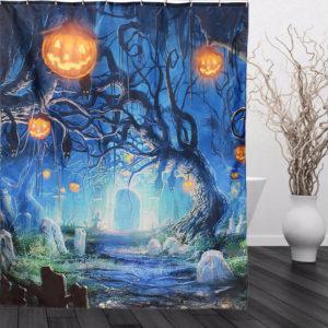 150x180cm Halloween Ghost Pumpkin Polyester Shower Curtain Bathroom Decor with 12 Hooks