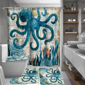 165/180 cm bläckfisk vattentät duschgardiner med badrum med C-formade gardinkrokar