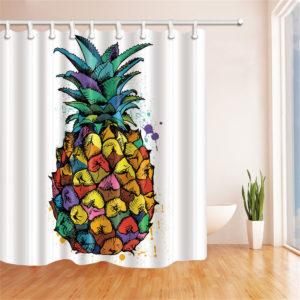 180 * 180 cm färgglad ananas polyester badrum dusch gardin vattentät dekor med 12 krokar