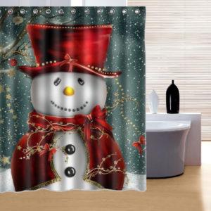 150x180cm Snowman Pattern Waterproof Polyester Shower Curtain Bathroom Decor with 12 Hooks