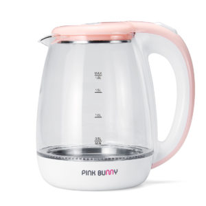 PINKBUNNY 1500W 1.8L Portable Stainless Steel Glass Travel Electric Kettle Fast & Safe