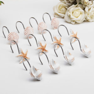 12Pcs/Pack Barthroom Shower Curtain Hooks Set for Shower Rod Beach Themed Starfish Shell Seashells Hook