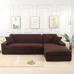 Brun elastisk soffskydd Massiv Halkfri Halk Mjuk Slipcover Tvättbar soffmöbelskydd för vardagsrummet