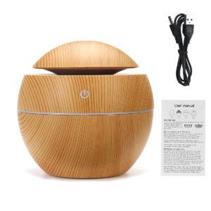 USB-LED Färgglad ljus Ultraljud Luftfuktare Träkorn Aroma Essential Oil Diffuser för Office Home