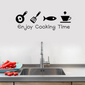 Cartoon Enjoy Cooking Time Kitchen Wall Sticker PVC Mural Art Decals Stickers Background Home Decor