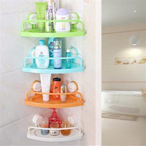 Bathroom Corner Shelf With Suction Cup Rack Organizer Cup Storage Wall Basket