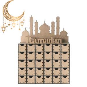 Ramadan adventskalender DIY hus låda 30 rutor MDF stativ rack dekorationer