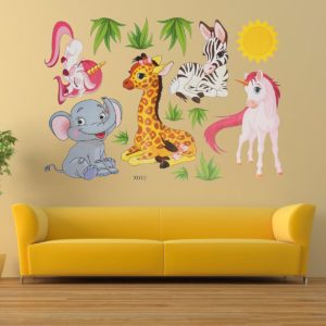 Cartoon Animal Elephant Giraffes Grass Bedroom Removable Wall Sticker Home Decor