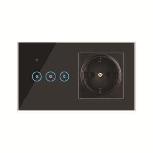 Bakeey 2 In 1 1/2/3 Way Wall Smart Switch Socket Touching härdat glas Smart Light Kontrollpanel Arbeta med Ewelink Smart Life