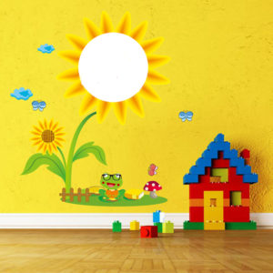 Children Creative Washable Wall Sticker Sunflower Sketchpad Room Decor